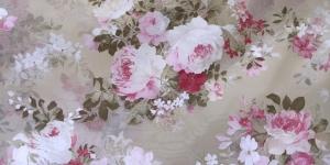Õrn, läbipaistev kardinakangas, valge. roosade roosidega, 280cm, 05028-01