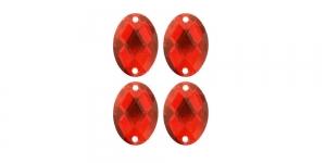 WF18 18x13mm Punane, tahuline ovaalne akrüülkristall, 4tk