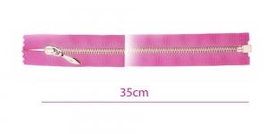 1551NI, Alt avatav 4mm hammastikuga metall-tõmblukk pikkusega 35cm, sireli-roosa, nikeldatud hammastikuga