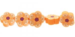 CE35_2 14x6mm Oranžikirju lilleline polümeersavist helmes