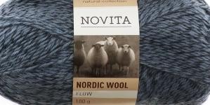 Täisvillane lõng Nordic Wool Flow, Novita, Värv 12, sinakad-hallikad toonid