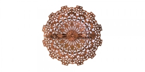 Pross Vaskne, Copper Lacey Round Pin-On Brooch, 56mm, EB49A