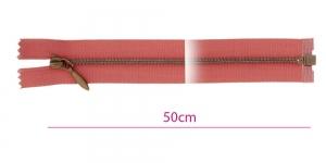 1382OX, Alt avatav 4mm hammastikuga metall-tõmblukk pikkusega 50cm, lõheroosa, antiikpronks hammastikuga