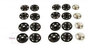 Fashion Press Buttons s-spring, brass made, ø19 mm, 4 pcs set, black