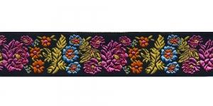 Mustal taustal lillemustriga kaunistuspael 35 mm, Art. 35097FC, värv V3 Must, kirju mustriga pael