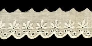 Broderiipits lehtedega laius 50mm, kreemjas helekollane