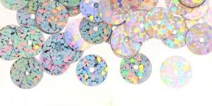 YB44 / Lamedad kettakujulised plastlitrid , sätendavad hõbedased / ø8mm /