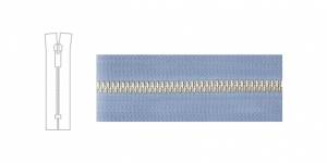 7124NI, 6mm hammastikuga metall-tõmblukk pikkusega 15cm-16cm, helesinine, nikeldatud hammastikuga