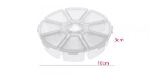 Plastmassist (PP) läbikumav ümar säilituskarp, 8 sektoriga, ø10 x 3 cm, KL1306