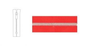 3890NI, Metal Zipper, zip fastener, 17cm-18cm, clear red, member width: 4mm, nickel plated