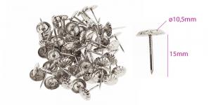 Polstrinaelad, dekoratiivnaelad, kübara ø10,5 mm, pinnakate: nikeldatud, 25 tk PB12 KL0314