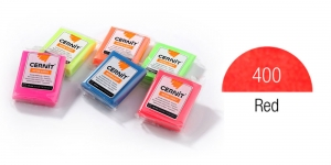 Polymer clay Fluorescent, Neon, Cernit, 56g, Red 400