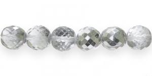 Ümar tahuline klaaspärl, Tšehhi, 18mm, Värvitu läbipaistev 1/3 hõbedase kattega, LJ3