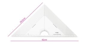 Läbipaistev kolmnurk-joonlaud 29,5cm × 29,5cm × 42cm malliga, Kearing PMT046