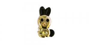 Kuldne, must kannaga plastiknööp, 20x12mm/32L, SD139B