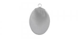 Hõbedane medaljonikujuline riputis, Silver Oval Pendant Base, 26 x 19mm, EG70