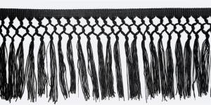 Sõlmelise servaga narmad pikkusega 15 cm, värv must, 2