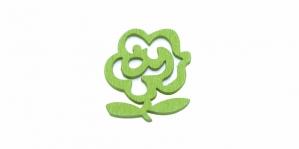 Lilleõiekujuline Õunaroheline puitdetail / 22 x 20 x 2mm / IO34