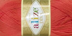 Siidja pinnaga akrüüllõng Diva Silk Effect; Värv 661 (Korall), Alize