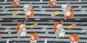 Puuvillane elastaaniga trikookangas, hallikates toonides taustal