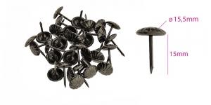 Polstrinaelad, dekoratiivnaelad, kübara ø15,5 mm, pinnakate: antiikteras, 25 tk, PB5 KL0324
