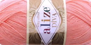 Siidja pinnaga akrüüllõng Diva Silk Effect; Värv 145 (Lõheroosa), Alize