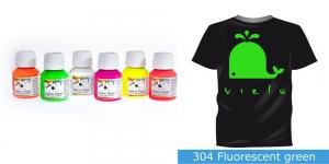 Fluoresseeruv kangavärv Fabric Paint Fluorescent, 50 ml, Vielo, Värv: kirgas roheline, #304 Fluorescent green