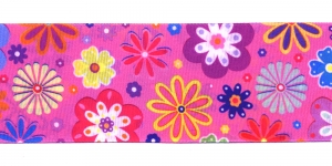 Lilleline fuksiaroosal taustal ripspael laiusega 48 mm Art.P1752 Värv 634
