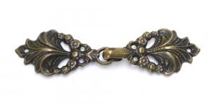 GG258TA, Scandinavian Pewter Clasps, pair size: 65mm x 18mm, antique brass