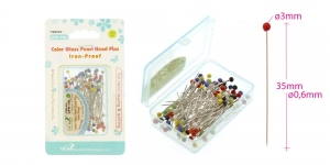 Glass head pins, 100pcs, 35mm x 0,6mm, The Arch GPH-100