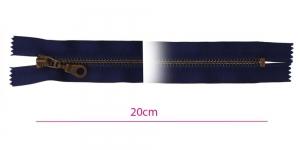 1683OX, Metall-tõmblukk pikkusega 20cm, 6mm antiikpronks hammastikuga, tume sinine (navy)