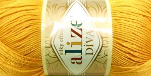 Siidja pinnaga akrüüllõng Diva Silk Effect; Värv 488 (Tumekollane), Alize