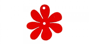 Lillekujuline punane puitdetail, 25 x 2mm, IO161
