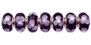 Mustad, roosakaslillade lilledega pandora tüüpi helmes, 14 x 7mm, KL55