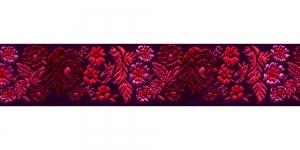Mustal taustal lillemustriga kaunistuspael 35 mm, Art. 35097FC, värv V2 Must Punase, roosa mustriga pael