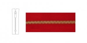 3890BR, 6mm hammastikuga metall-tõmblukk pikkusega 21cm-22cm, puhas punane, pronks hammastikuga
