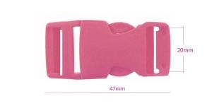 Plastikust pistlukk 47 mm x 23 mm, rihmale laiusega 20 mm, Tumeroosa, UG6B