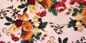 Heleroosa, kirju roosimustriga kostüümikangas, 150cm, 094-251-6901