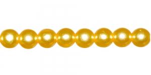 Kollane pärlmutter läbipaistmatu ümar plasthelmes, 6mm, BN9