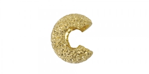 Gold Plated Textured Crimp Covers, 5mm, 349A-023