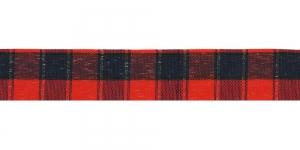 Ruuduline kirju pael, laius 25mm, Art. TT01425-TTN, värv 1, punane, must, kuld