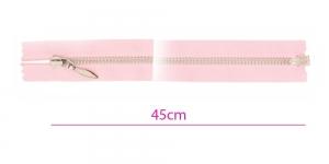 1323NI, Alt avatav 4mm hammastikuga metall-tõmblukk pikkusega 45cm, roosa, nikeldatud hammastikuga