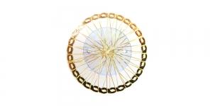 Kuldne ja helesinine, Golden Circular Wire Charm with Light Blue Adornment, 40mm, EG55