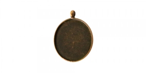 Antiikpronks medaljonikujuline riputis, Antique Bronze Circular Pendant Base , 21,5 x 26 x 2mm, EG29
