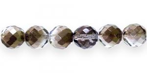 LP42 Ümar tahuline klaaspärl, Tšehhi, 14mm, Tumehall läbipaistev 1/3 pronksja kattega