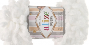 Pehme aasadega lõng Puffy Soft & Quick firmalt Alize, värv 55, valge