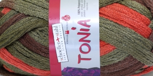 Krookiv lõng kreatiivseks kasutamiseks Tonia; Värv 0142 (Tonia Tumepruun, samblaroheline, tumeoranž), Schoeller+Stahl