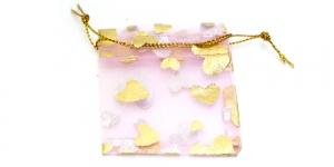PA17 7x5,5cm Roosa läbipaistev, kuldse mustriga kinkekott