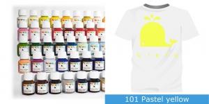 Värvid kanga värvimiseks pintsli, tampooni jms abil Vielo Fabric Paint, 50 ml, Värv: pastelne kollane, #101 Pastel yellow