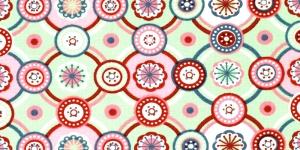 Puuvillane elastaaniga trikookangas kangas, kirju muster, helerohelisel taustal